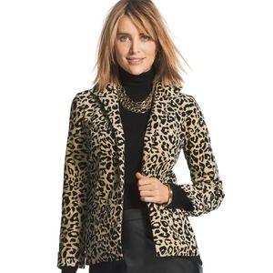 Chico's Leopard print velveteen blazer jacket